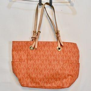 Michael Kors Orange Tote Leather Strap Handbag